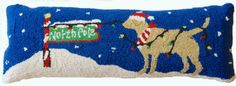 """Yellow Labrador Retriever Dog North Pole Christmas - 9"""" x 26"""" Wool Hooked Pillow - An Exclusive Design"""