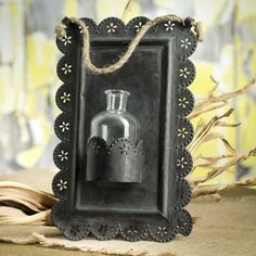 vintage inspired tin wall bud vase - factory direct craft fdc