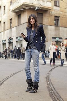 Emmanuelle Alt | navy blazer with gold hardware..an essential piece