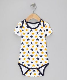 Take a look at this Blue & Orange Star Organic Bodysuit by Sweet Peanut on #zulily today!