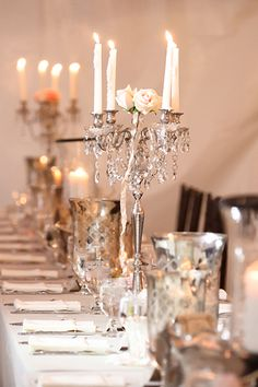 You don't have to spend a lot of money on wedding table decorations if you focus on a few key items. One of our favorites (besides wedding table runners) Silver Centerpiece, Candle Wedding Centerpieces, Wedding Table Decorations, Centrepieces, Flower Centerpieces, Gold Wedding Colors, Wedding Flowers, Bling Wedding, Our Wedding