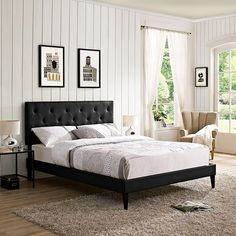 Terisa Queen Vinyl Platform Bed with Squared Tapered Legs in Black