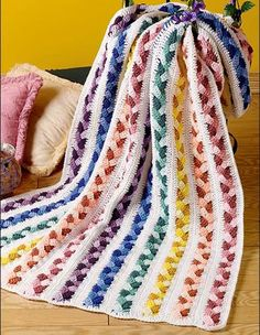 Crochet For Children: Plaited Scraps Afghan (Free Pattern) ༺✿ƬⱤღ http://www.pinterest.com/teretegui/✿༻