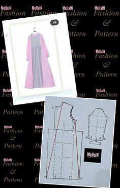 Dress Sewing Patterns, Sewing Patterns Free, Sewing Tutorials, Clothing Patterns, Abaya Pattern, Sewing Sleeves, Fashion Pattern, Japanese Sewing, Pattern Drafting