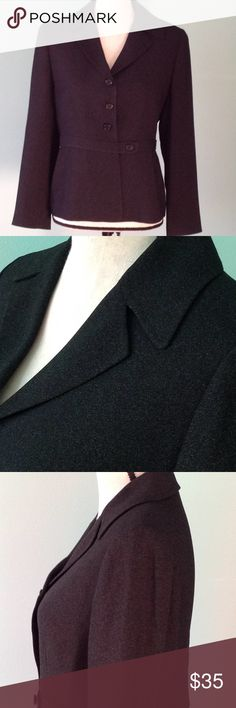 ♠️ TAHARI BLAZER Sharp TAHARI BLAZER with unique tab closure at waist. Black in color with a gray marled thread in the fabric. EUC Tahari Jackets & Coats Blazers