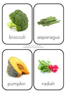 Beautiful photo vegetable flashcards perfect for home or the classroom. Use to create a vocabulary rich environment or create a smaller version to use shopping. So many ways to use these photo vegetable cards. Food Flashcards, Flashcards For Kids, Fruit And Veg, Fruits And Veggies, Baby Flash Cards, Fruit Coloring Pages, Montessori, Types Of Vegetables, Food Crafts