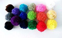 Pom Poms Cat Toys Set of 3 Yarn Cat Balls by oddballcattoys