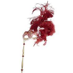Venetian Masquerade Stick Mask – Red