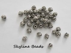 Bicone Tibetan Style Beads Antique Silver 7.5mm x 6mm  Lots
