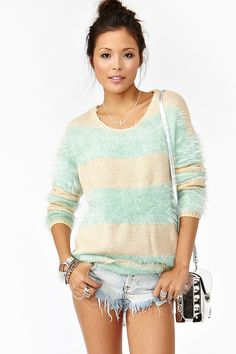 Striped Fuzz Knit - the mint obsession continues to fall. glorious