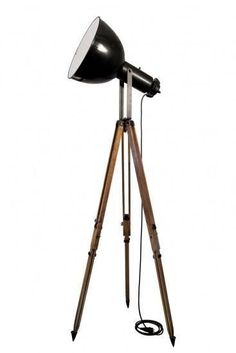 tripod puy in stock) Vintage Industrial Spotlight On French Wooden Tripod Industrial Chic Style, Industrial Lighting, Home Lighting, Rustic Industrial, Modern Floor Lamps, Black Lamps, Tripod Lamp, Lamp Light, Lights