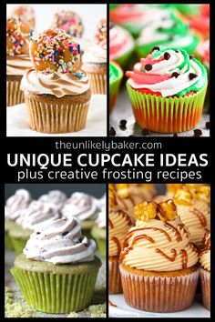Unique cupcake recipes perfect for birthdays baby showers bridal showers and more. From creative flavour combinations to the most luxurious buttercream recipes. Cupcake Recipes From Scratch, Easy Cupcake Recipes, Cupcake Flavors, Cake Mix Recipes, Bakery Recipes, Frosting Recipes, Dessert Recipes, Bakery Menu, Muffin Recipes