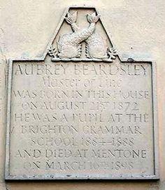 Plaque at 45-58 Buckingham Road, Brighton, England (Aubrey Beardsley's birthplace)