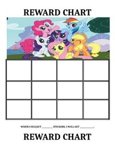 Use these sticker charts as positive reinforcement. There are five colored My Little Pony themed reward charts. The reward charts are also in black and white for easier printing. They can also can be laminated for continual use.