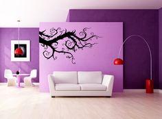 Whimsical Tim Burton-esque branch decal vinyl wall sticker.