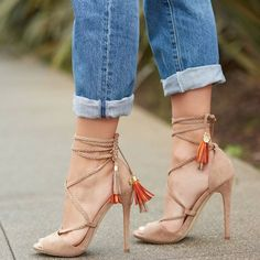 'Rosalyn' Braided Lace-Up Heels With Double-Layer Tassels