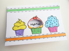 Kaart met de uitnodiging voor een High tea. Cupcake doorkijkje. Erg leuk om te doen, maart 2013