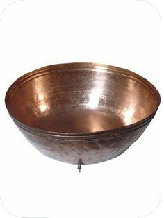 Bassin à poser sur mesure en cuivre ou maillechort