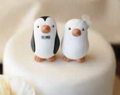 Wedding Cake Topper -- Penguin Cake Topper -- Small
