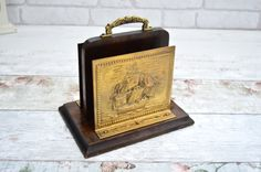 Vintage Letter Rack Vintage Post Vintage Wood and Brass Letter Rack picturing a Tall Ship by FillyGumbo