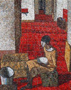 """""""Ragazza Con Scodella"""" (Girl With Bowl), Felice Casorati.  Made in  mosaic by Maestro Igor Maziali using marble, stone, brick, ecological smalti, Venetian smalti and limestone."""