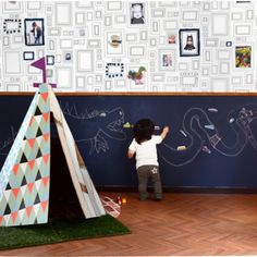 Frames Wallpaper by Graham & Brown for Kids Room Kindergarten Interior, Ideas Habitaciones, Striped Room, Daycare Rooms, Cool Kids Rooms, Kids Room Wallpaper, Baby Boy Rooms, Baby Room Decor, Kid Spaces