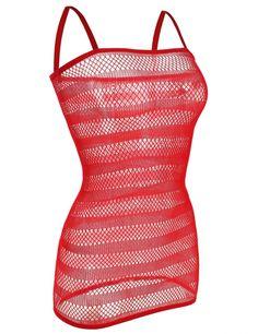 8.90€ Mini robe nuisette sexy effet filet en rouge - bestyle29.com LIVRAISON FRANCE GRATUITE