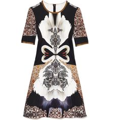 Clover Canyon Swan Dress (190.300 CLP) ❤ liked on Polyvore featuring dresses, graphic print dress, neoprene dress, graphic dresses, round neck dress y back zipper dress