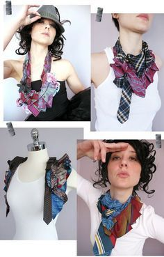 Upcycle your old ties! Cute and sassy DIY fashion idea Diy Clothes Refashion, Diy Clothing, Old Ties, Tie Crafts, Diy Kleidung, Diy Mode, Diy Couture, Refashioning, Fabric Jewelry