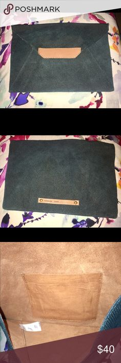 Envelope clutch Dark teal envelope clutch. Leather detail. 2 slot compartment inside. Anthropologie Bags Clutches & Wristlets