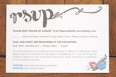 Love The Way Rsvp Is Written And Little Floral Details Also Like