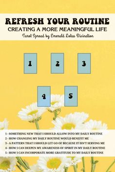 Refresh your routine with this tarot spread to help create more meaning in your daily life. For more spreads visit: www.emeraldlotus.ca