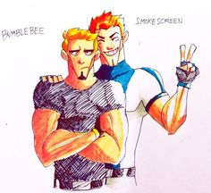 TFP: Smokescreen n BB by Blink2 on deviantART. Humanized or not, this picture sums up their relationship perfectly! xD