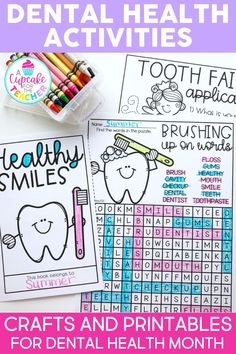 Make learning about dental health fun with tooth themed activities and crafts for kids. Great ideas for teaching healthy habits to your students in kindergarten, first grade and second grade. #dentalhealthactivities #dentalhealthforkids