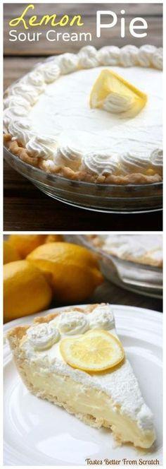 Creamy, dreamy lemon sour cream pie could be my favorite pie recipe of all time! | tastesbetterfromscratch.com via @betrfromscratch