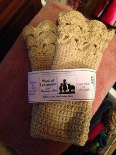 Gayle's crocheted gloves from 100% Gulf Coast Native wool yarn by Wool of Louisiana.