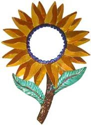 Mexico has long been known for its colorful and uniquely original tin mirror frames, and this darling Sunflower mirror proves precisely why.  Hand-punched and hand-painted in Oaxaca, Mexico, its bold colors will revitalize even the drabbest of walls.  It's the perfect way to embrace your own Mexican or Southwestern spirit, and to bring out the interior decorator in all of us!  Also makes a striking yet inexpensive gift that will be cherished for years.
