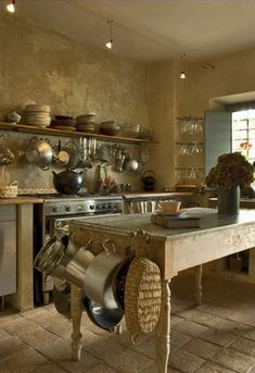 Stunning Rustic Farmhouse Style Kitchen Decorating Ideas - Page 2 of 55 French Country Kitchens, Farmhouse Style Kitchen, French Country House, Kitchen Dining, Kitchen Decor, Rustic Farmhouse, Kitchen Island, Country Style, Island Table