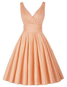 PAUL JONES Women 50S Polka Dot Sundress Deep V-neckline Vintage Dress CL6295 -- Review more details @