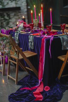 velvet tablescapes - photo by Elicia Bryan and Divine Light Photography http://ruffledblog.com/recipe-for-romance-wedding-ideas #weddingreception