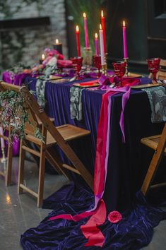 velvet tablescapes - photo by Elicia Bryan and Divine Light Photography http://ruffledblog.com/recipe-for-romance-wedding-ideas #weddingreception