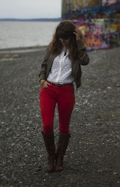<3 this look from the ModCloth Style Gallery! Red jeans, white lace, brown leather boots and jacket