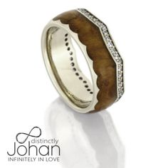 Diamond Eternity Wedding Band, Teak Wood Crown Ring With White Gold-DJ1014WG