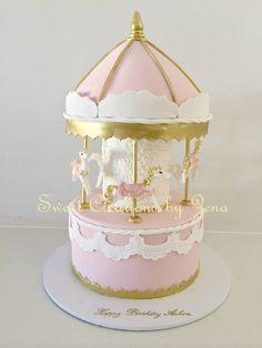 Sweet Creations by Zena Carousel Cake, Cupcake Cakes, Cupcakes, Glaze For Cake, Sweet Bakery, Bakery Cakes, Cake Art, Amazing Cakes, Tea Party