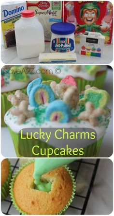 Lucky Charms Cupcakes- cupcakes, make hole in middle, add frosting, plug hole, frost top, add lucky charm cereal