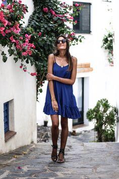 JUNESIXTYFIVE - robe basque bleue
