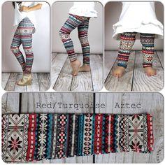 Red/Turquoise Aztec Print Leggings, Adult legging, girls leggings, toddler legging, baby legging, aztec legging on Etsy, $14.37 AUD