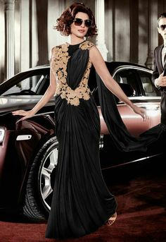 Priyanka Chopra Black Saree Style Gown