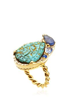 One Of A Kind Turquoise And Sapphire Ring by Sylvie Corbelin for Preorder on Moda Operandi