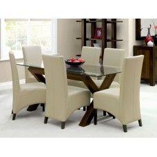Bentley Designs Lyon Walnut Furniture Glazed Dining Set